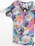 NEW! RICHMOND Women Multi Color Floral Print Embellished Neckline Short Sleeve Dress Blouse Top 38