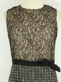 RED VALENTINO Women Black Lace Gold Boucle Bow Sleeveless Dress Size 44