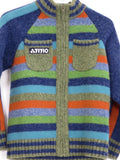 OILILY Boys Multi Color Blue Green Orange Stripes Round Neck Knit Sweater Cardigan 128