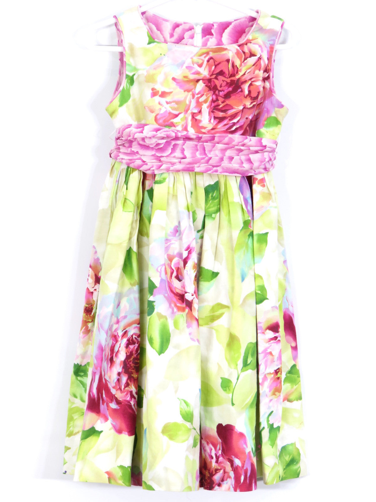 Green Floral Dress With White Ribbon Girls' Clothing (2-16 Years) Clothes, Shoes & Accessories