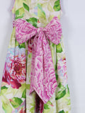 MARMALADE Girls Multi Color Pink Green Floral Sleeveless Ribbon Bow Belt Pleated Dress 5