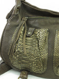 ABACO Women Brown Gold Saddle Snake Skin Baho Handbag Shoulder Bag Messenger Purse
