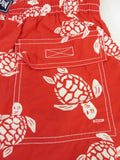 VILEBREQUIN Men Red White Turtle Print Swim Trunks Shorts Bathing Suit XL