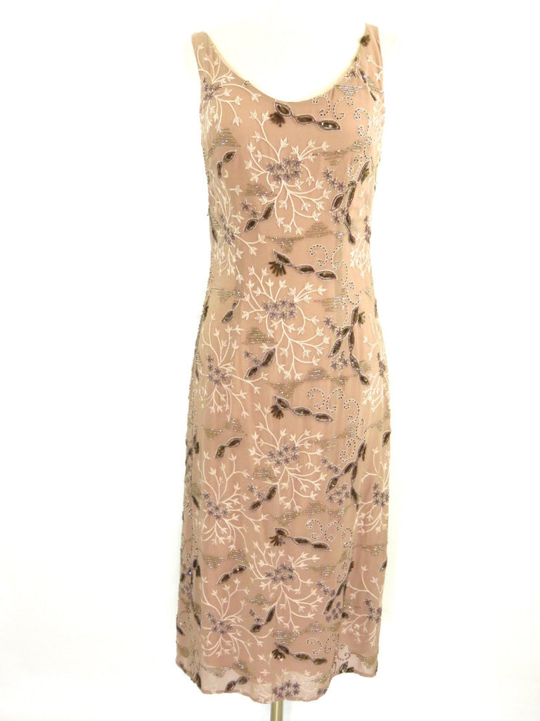 GIULIANA TESO Women Pink Peach Sequins Embroidery Sleeveless Cocktail Dress