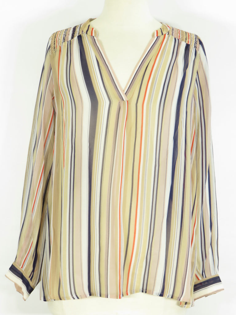 JOIE Women Multi Color Stripes V Neck Blouse Top Tunic Shirt Size S