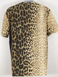 JUST CAVALLI Men Brown Multi Color Animal Print Top Shirt Size XL