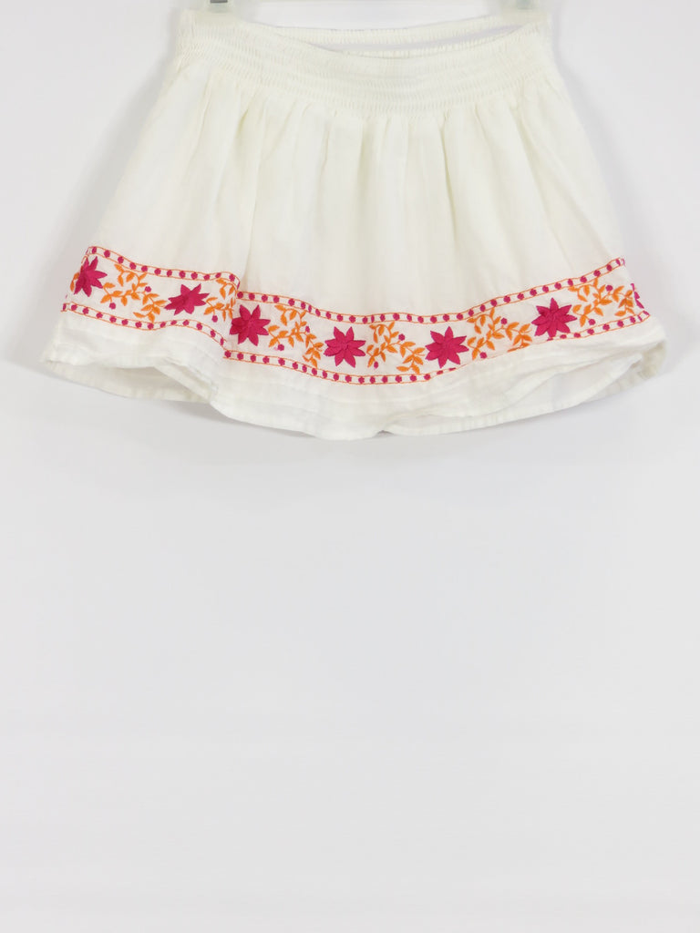 CALYPSO ST. BARTH Girls White Pink Orange Embroidery Skirt S 6/6X