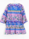 CUSTO GROWING Girls Multi Color Floral Print 3/4 Sleeve Tunic Dress 8