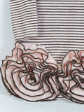 BISCOTTI Girls Pink Brown Stripes Sleeve Flower Embellished Hem Dress 5