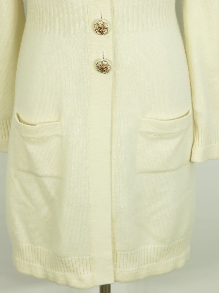 ... CHANEL Women Off White Long Cashmere Cardigan Sweater CC Gold Buttons  38 ... eafd8fc84