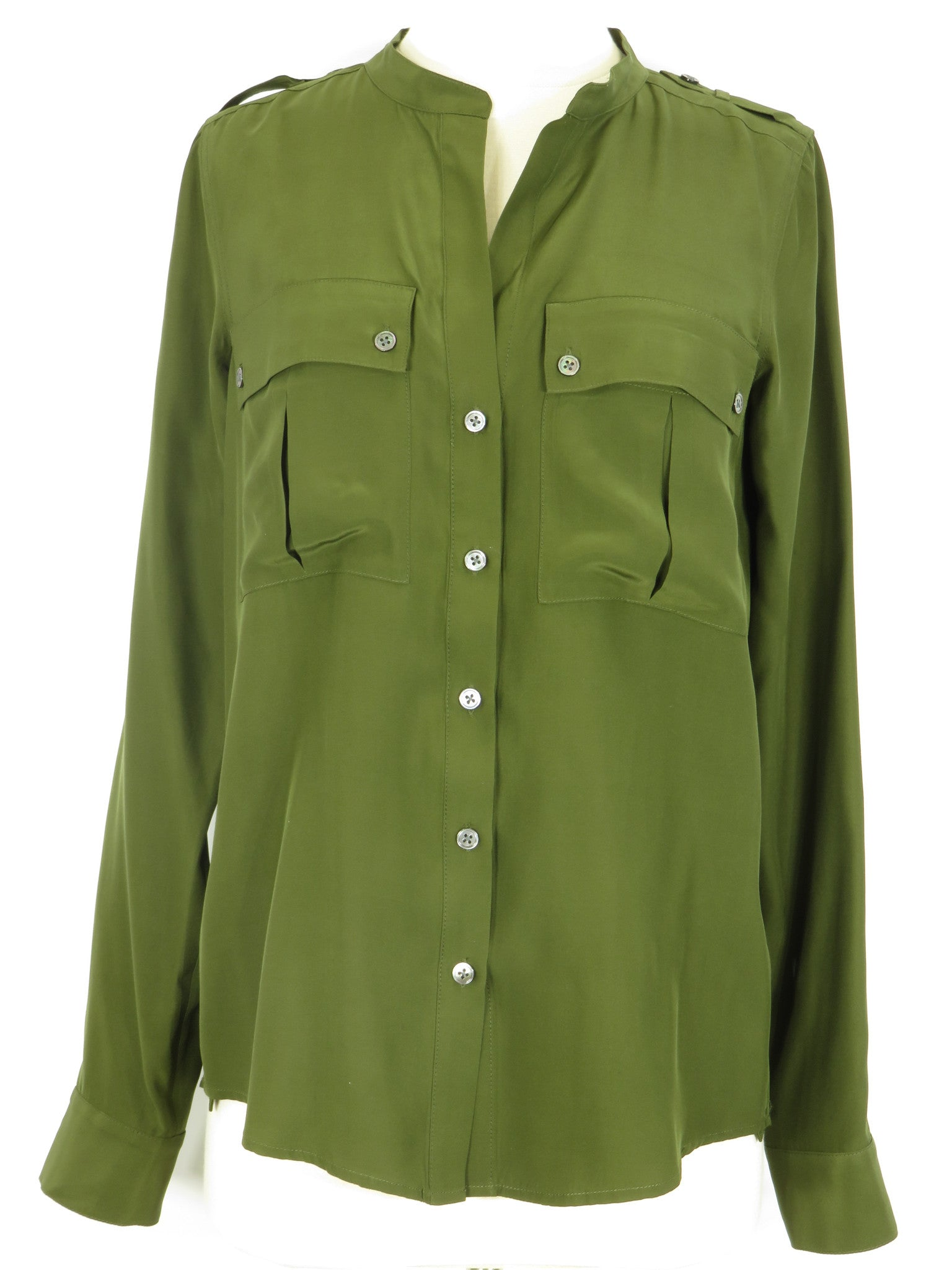 7672ba7c8603fd ELIZABETH AND JAMES Women Olive Green Silk Button Down Metallic Buttons Top  Shirt S