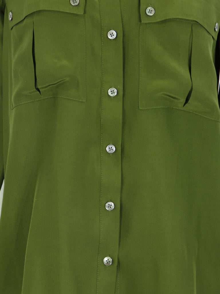 afe6d3d0d82328 ... ELIZABETH AND JAMES Women Olive Green Silk Button Down Metallic Buttons Top  Shirt S ...