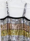 LES TOUT PETITS Girls Sequins Silver Gold Bronze Spaghetti Straps Dress 10 12