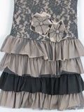 ISABELLA AND CHLOE Girls Gray Black Cap Sleeve Lace Tiered Flower Applique Dress 8