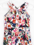 GAMINO PARIS Girls Multi Color White Floral Print Halter Pleated Dress 12 Y