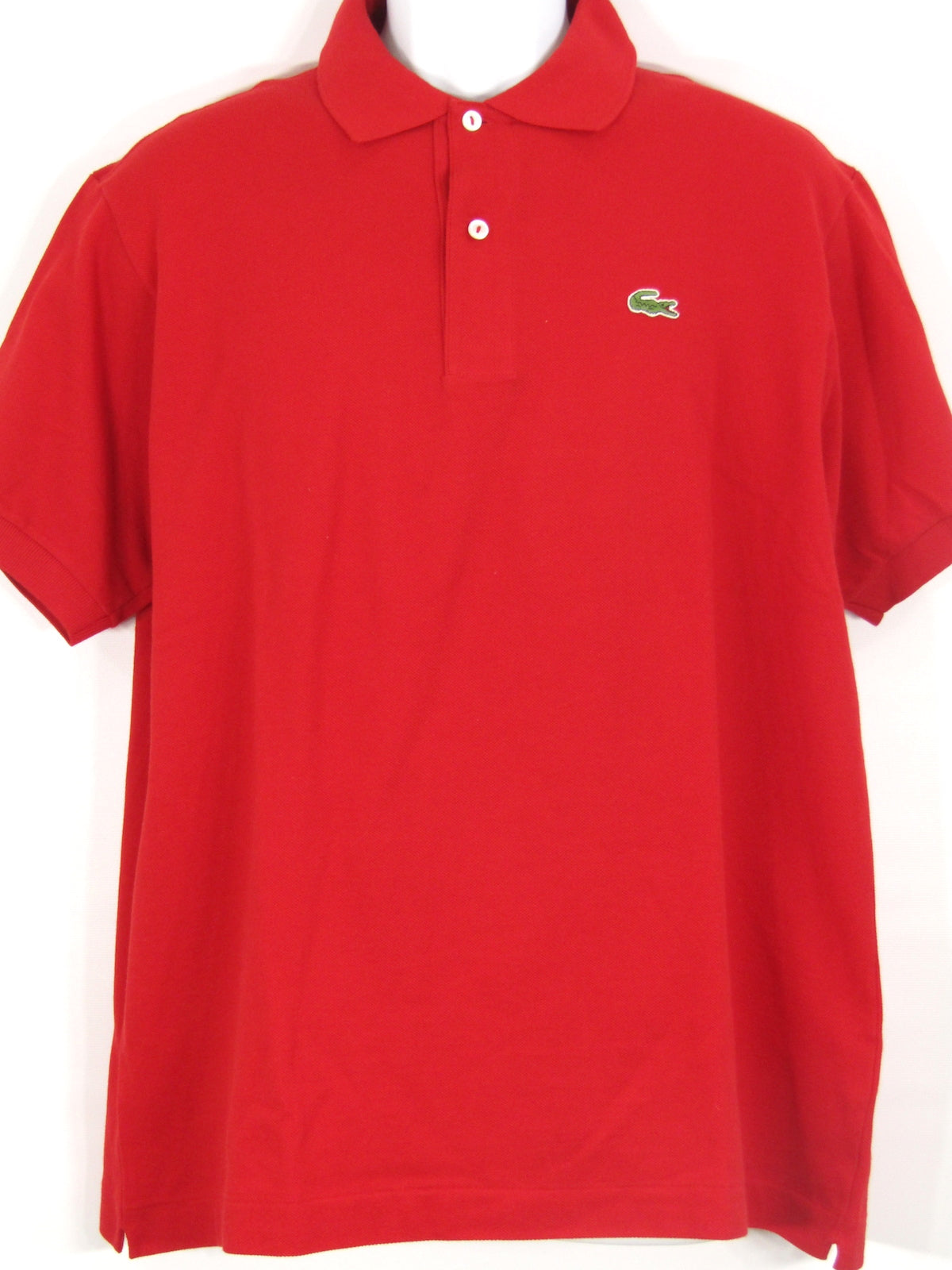 Lacoste Men Red Half Button Down Top Shirt Size 6
