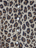 CREW CUTS Girls Brown Leopard Animal Print Button Down Knit Cardigan Sweater S 3