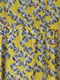 AQUA Girls Yellow Floral Print Round Neck Sleeveless Dress XL
