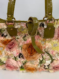 VALENTINO GARAVANI Purse Bag Flowers Roses Lime Green Yellow Orange Pink