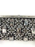 VALENTINO GARAVANI Crystals and Bow Black Satin Silver Clutch Pavee Embelishment Front