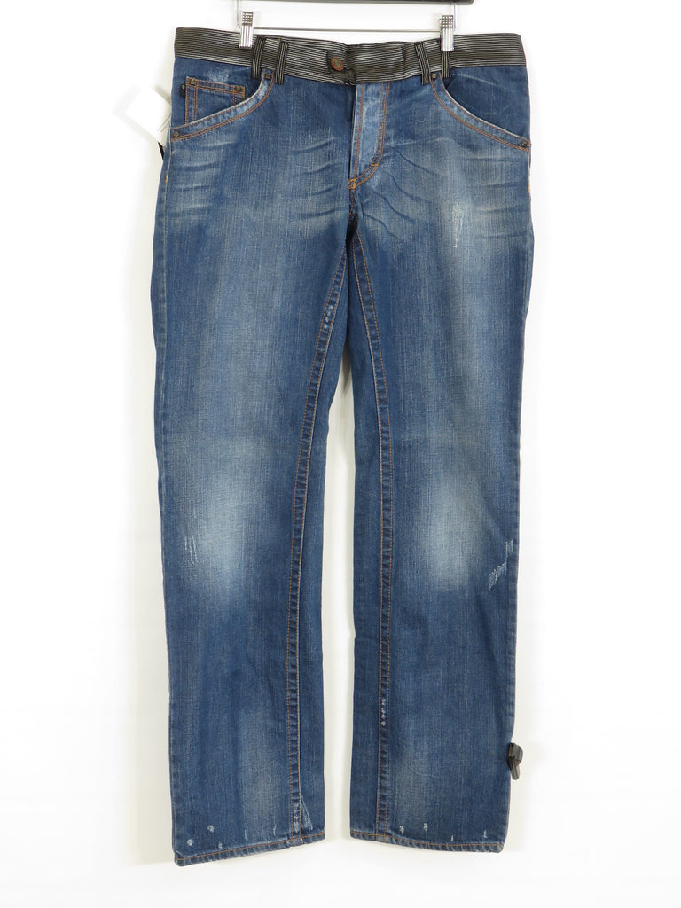 NEW! CAVALLI Men Dark Wash Black Gray Waist Ragged Straight Leg Bottom Jeans Size 38