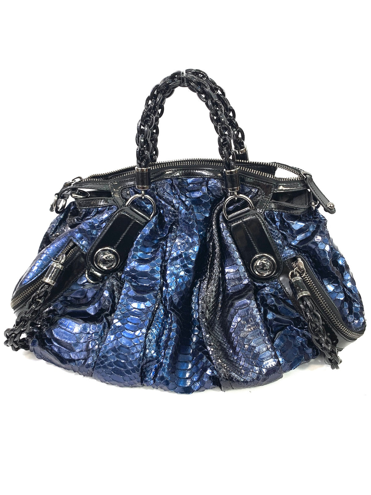 efb3c74cc89e87 GUCCI Women Black Patent Leather Blue Python Lim. Ed. Pelham Bag Satchel  Purse Tote