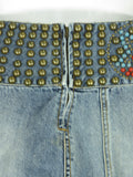 Designer Women Blue Jeans Red Gold Beads Light Wash Mini Skirt Aqua Star Applique
