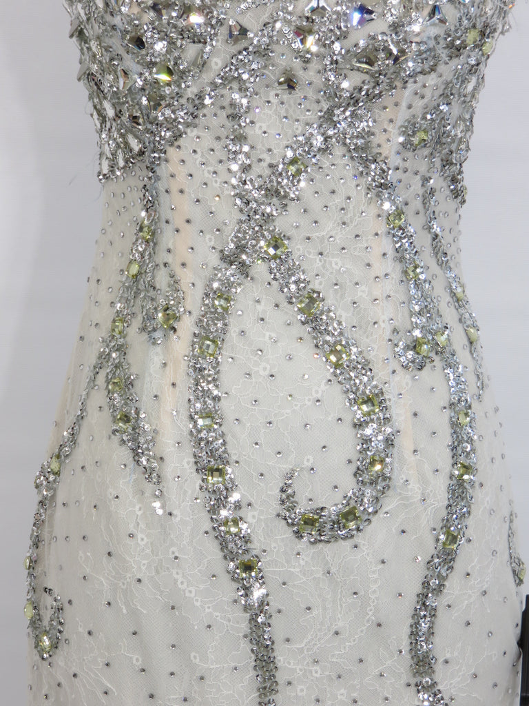 New Sherri Hill Women White Silver Embellished Crystals