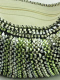 DIANE VON FURSTENBERG STEPHANIE Off White Metallic Green Silver Purse Shoulder Bag Hobo