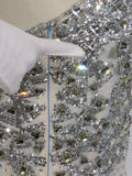 NEW! SHERRI HILL Women White Silver Crystals Sequins Beads One Shoulder Cocktail Dress 4
