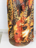 NEW! WT COUTURE Women Orange Silk Halter Open Back Maxi Dress Jeweled Neckline OS
