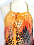 NEW! WT COUTURE Women Orange Silk Halter Gold Chain Open Back Asymmetrical Dress OS
