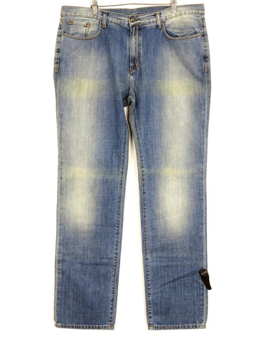 NEW! VERSACE COLLECTION Men Light Wash Straight Leg Classic Bottom Jeans Size 40