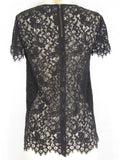 BARNEYS NEW YORK Women Navy Blue Black Lace Top Shirt Size 36