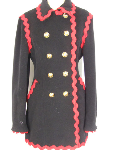 CHEAP AND CHIC MOSCHINO Women Black Red Trim Wool Jacket Coat Size 8