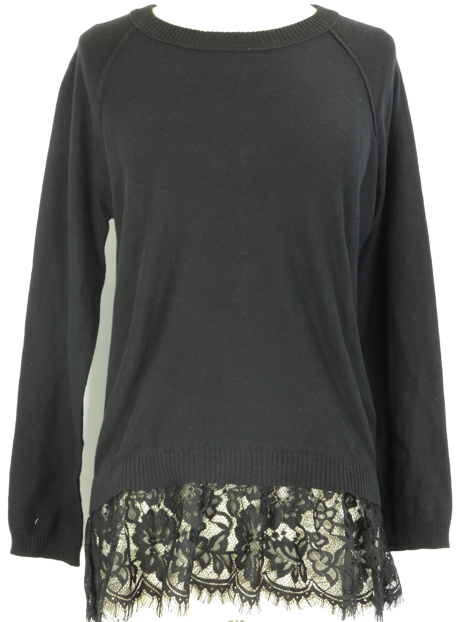 Central Park West Women Black Knit Lace Bottom Crew Neck