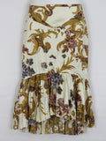 NEW! CAVALLI Women Off White Gold Multi color Print Ruffles Mermaid Skirt Size 42