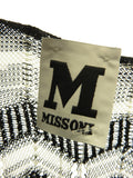 M MISSONI Women Black White Iconic Chevron Design Boat Neck Dress Size 42
