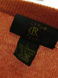 CLUB ROOM Men Orange Cashmere Solid Long Sleeve Sweater Top Size L