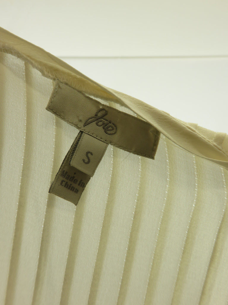 a323dde71 ... JOIE Women Off White Sheer Pleated Sleeveless Button Down Tank Top  Shirt Size S