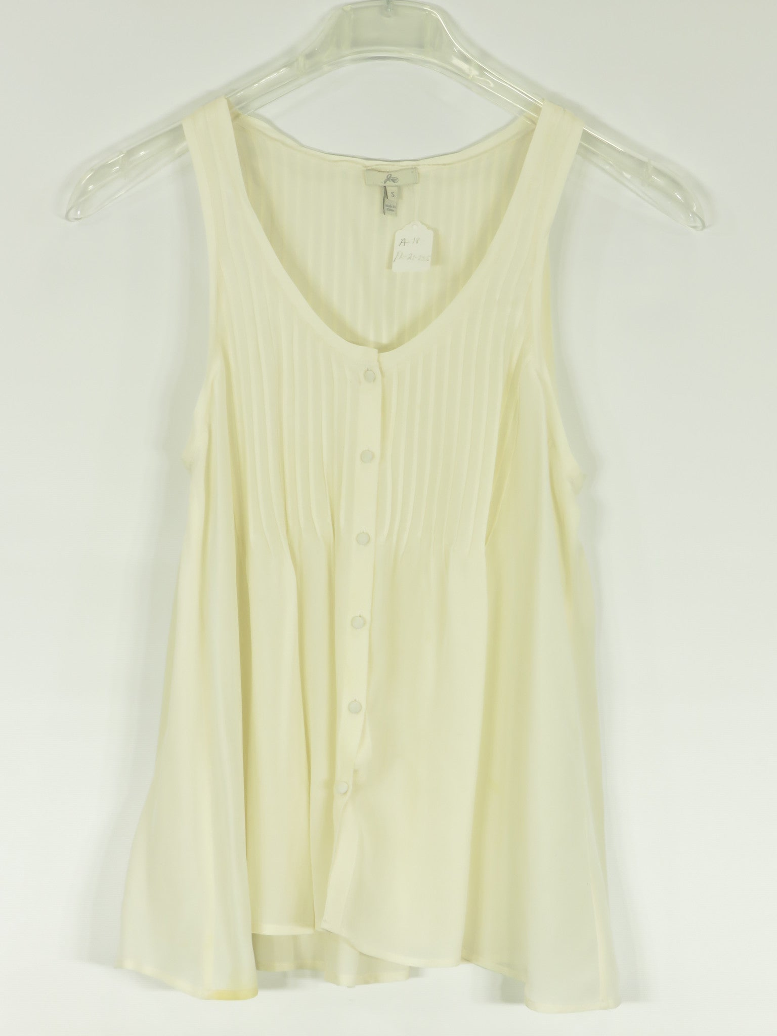 7edd8bc2f JOIE Women Off White Sheer Pleated Sleeveless Button Down Tank Top Shirt  Size S. Joie Lorena's Worth