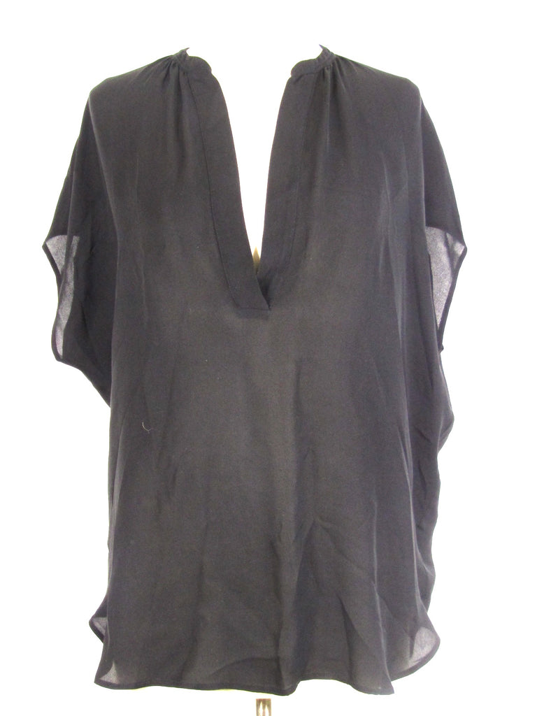 VINCE Women Black Sleeveless Kimono Blouse Top Shirt Size S