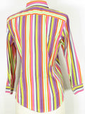 RALPH LAUREN Women Multi Color Stripes Long Sleeve Button Down Shirt S