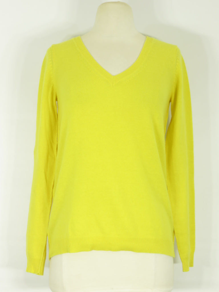 ... THEORY Women Yellow Cashmere V Neck Knit Sweater Top Long Sleeve Size S  ... e2cac2565