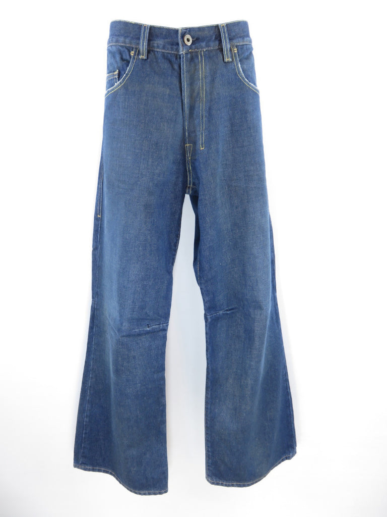 DIESEL Men Blue Back Pockets Loose Fit Medium Wash Knee Seam Jeans Pants Sz 36