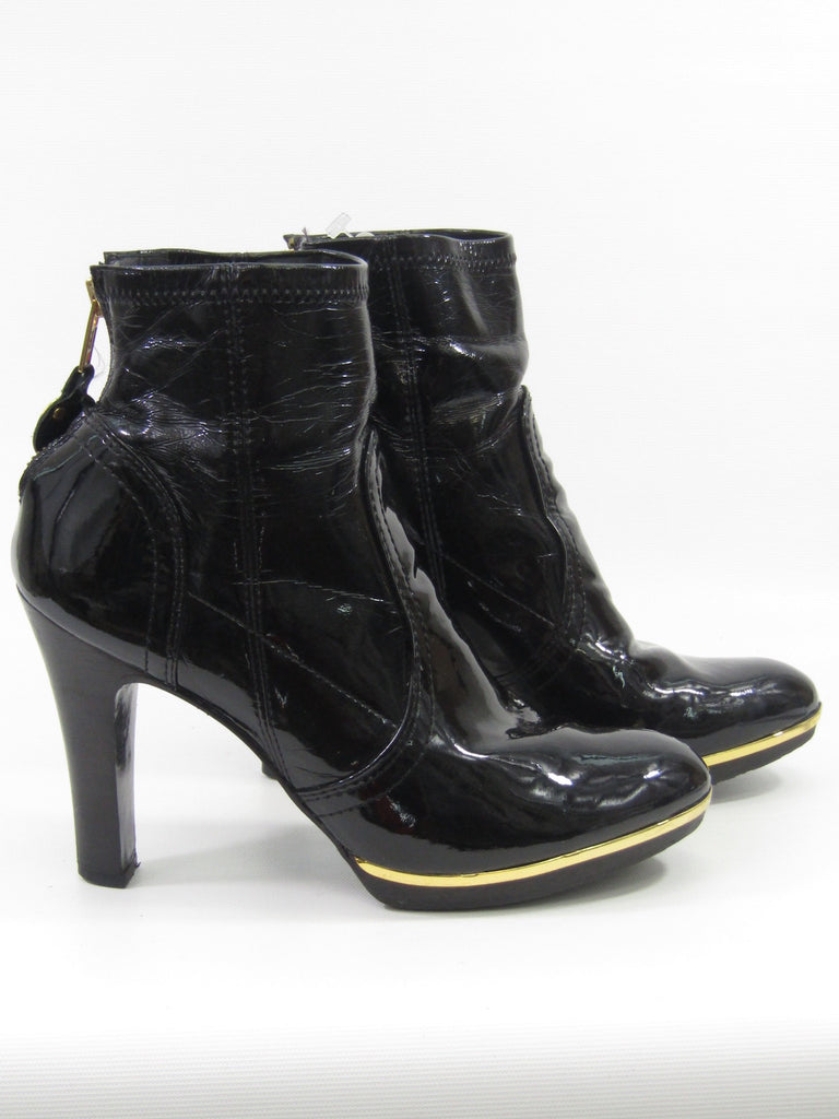 512cee0a6fb682 ... TORY BURCH Women Black Patent Leather Gold Buckle Melrose Ankle Boots  8M ...