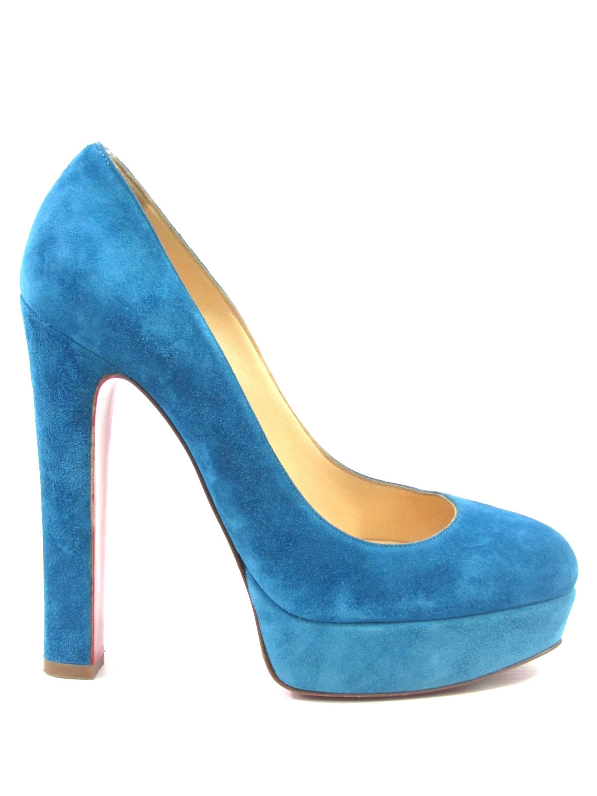 67fe37cc843 CHRISTIAN LOUBOUTIN Women Light Blue Suede Bibi Platform Pumps Size 38