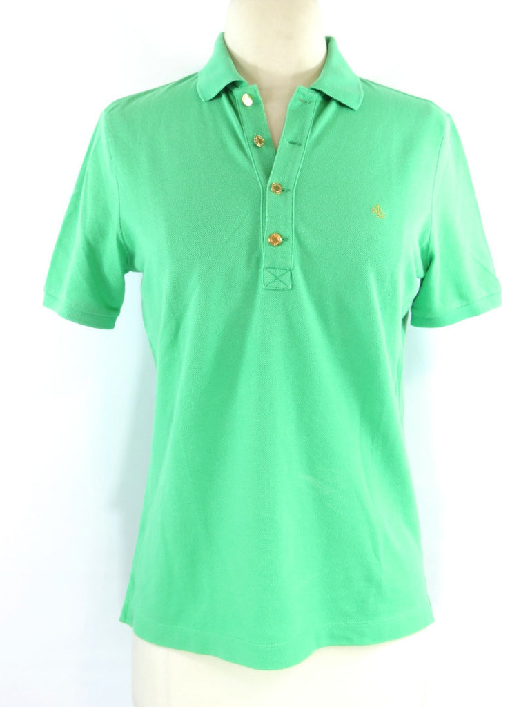 LAUREN RALPH LAUREN  Women Green Gold Buttons Short Sleeve Polo  T Shirt Top XS