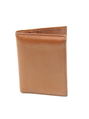TUMI Men Brown Leather Tri Fold Wallet ID card Holder Accessory