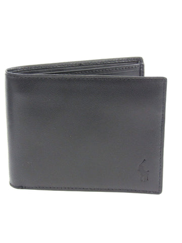 NEW! POLO RALPH LAUREN Black Leather Cordoba Passcase Bi Fold Wallet